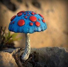 Blue red amanita fairy garden fantasy mushroom  ,polymer clay toadstool Home decor,Fairy Garden