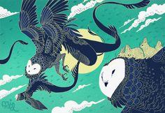 After the Sun by Emmi-Riikka Elisa Vartiainen Weird Creatures, Mythical Creatures, Korra, Pix Art, Mermaids And Mermen, Avatar The Last Airbender, Cool Drawings, Fantasy Art, Fairy Tales