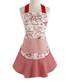 This Vintage Christmas Ruffle Apron is perfect! #zulilyfinds