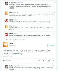 Komische Twitter-discussie tussen SBS 6 en Net5 (via Rianne Jacobs: https://twitter.com/riannejacobs/status/423505735130292224/photo/1)