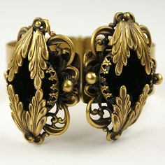 Joseff of Hollywood Gold Leaves and Onyx Sprung Bangle Bracelet - late 1930s