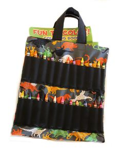 dinosaur coloring book and crayon holder bagtote by shoppebylola 2000 - Coloring Book And Crayon Holder