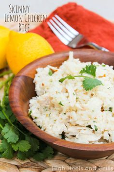 Skinny Lemon Chicken Rice. Easy and delicious. #dinner #recipe http://www.highheelsandgrills.com/2013/09/skinny-lemon-chicken-rice.html
