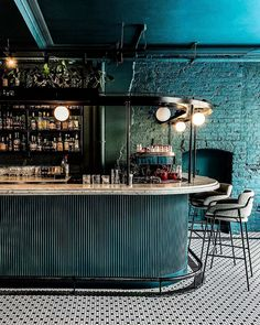 Turquoise monochromatic bar design -- when you really want to post something blue that isn't a facade and you find this beauty sitting in your camera roll 🕵🏻♀️ mission… Bar Interior Design, Restaurant Interior Design, Cafe Design, Küchen Design, Architecture Restaurant, Modern Restaurant, Cafe Restaurant, Lounge Design, Bar Lounge