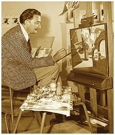 .Salvador Dali at work at the Walt Disney Studio, circa 1946.