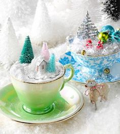 Create a magical winter fairy garden with vintage teacups and found objects. They're so easy, you could even make as favors for party guests.