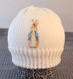 Knitted white baby beanie hat gift peter rabbit inspired  hospital hat photoprop