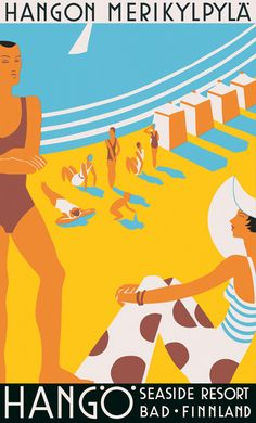 I just bought a reproduction of this today. Loving it! Hanko (Finland) seaside resort ad from 1930's. Unknown artist.