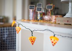 and pizza string lights. How To Throw An Awesome Pizza-Themed Party Pizza Party Themes, Dinner Themes, Pizza Party Birthday, 3rd Birthday Parties, 4th Birthday, First Birthday Themes, First Birthdays, Birthday Ideas, Kids Pizza