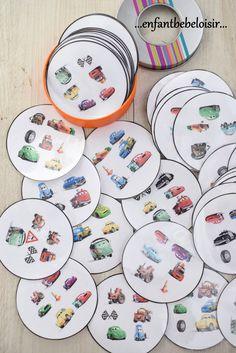 Hello! Mon petit Jassim - 3 ans - apprend bien plus vite quand on parle de voiture, et de flash Mc Queen encore plus! Voici pour lui un petit jeu de Dobble de Cars - 10 planches de 6 soit 60 cercles. Les PDF sont gratuits et à votre disposition mais je... Pixar, Disney Diy, Disney Cars, Movie Crafts, Fun Games For Kids, Pinterest Blog, Holidays And Events, Preschool Activities, Free