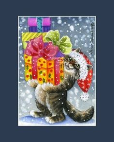 Christmas-Cat-ACEO-Presents-For-You-by-I-Garmashova Christmas Animals, Christmas Images, Christmas Cats, Christmas Time, Cats And Kittens, Black Kittens, Christmas Is Coming, I Love Cats, Cat Art