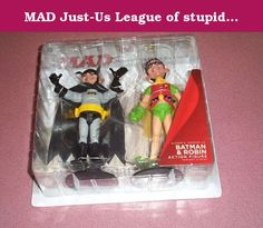 MAD Just-Us League of stupid heroes Batman & Robin figures comic con 2012 exclusive two pack. Striking fear into the hearts of criminals everywhere, or at least the ones that scare easily, comes Alfred E. Neuman's unique take on the dynamic duo - Batman and Robin! Aiming to dish out their own brand of justice, Gotham's underworld won't know how to handle this preposterous pair! .