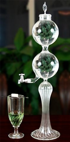 UnAquitaine Single Spout Borosilicate Glass Absinthe Fountain Set