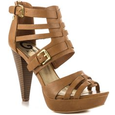 G by GUESS 'Hoyala' Cappuccino Synthetic Strappy Platform Stacked Cone Heel Ankle Strap High Heels, Strappy High Heels, Open Toe High Heels, Pointed Toe Pumps, Strap Sandals, Nude Shoes, Shoes Heels, Nude Pumps, Crocs Shoes