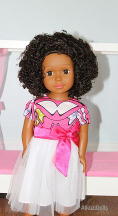 African American Doll in Pink and Purple dress