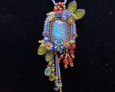 Floral and Crazy Lace Agate stone Necklace stunning colors of Bead Embroidered Bracelet, Beaded Necklace Patterns, Beaded Brooch, Jewelry Patterns, Beaded Embroidery, Beaded Jewelry, Seed Bead Necklace, Stone Necklace, Crazy Lace Agate