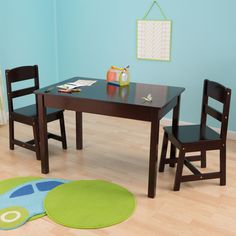 This Rectangular table and chair set gives kids a perfect work space for playing with their favorite toys, working on homework or even enjoying a quick snack. Built from sold wood, this furniture set is constructed to last.