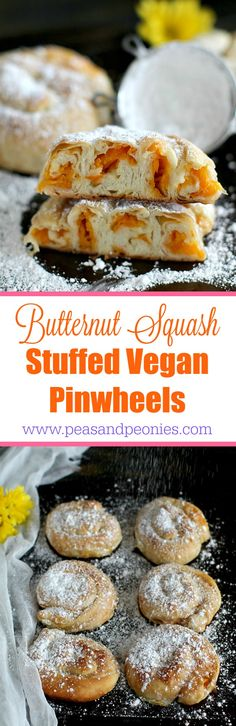 Vegan Butternut Squash Stuffed Pinwheels - These sweet Vegan Butternut Squash Stuffed Pinwheels require only a few ingredients and would be the perfect addition to your holiday table. Peas and Peonies