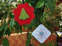 Glitter Square Ornaments | AllFreeChristmasCrafts.com
