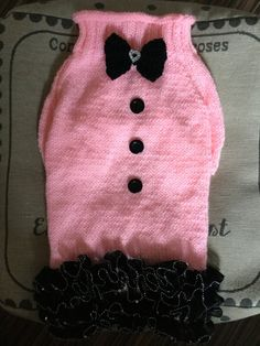 Large hand knit dog puppy sweater jumper coat pink with black ruffles (raglan sleeved) by DogzPawz on Etsy Knitting Ideas, Hand Knitting, Crochet Dog Clothes, Crochet Dog Patterns, Dog Jumpers, Dog Fashion, Dog Clothing, Dog Sweaters, Black Ruffle
