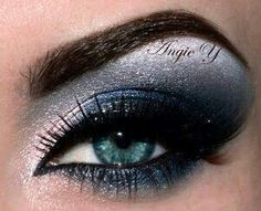 Sparkly blue eye makeup