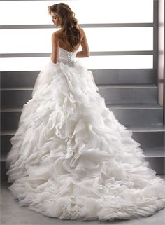 Ball Gown Sweetheart Beaded Ruffled Lace up Organza Wedding Dress WD1700