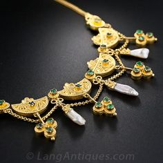 Victorian Etruscan Revival Emerald Necklace - 90-1-4510 - Lang Antiques