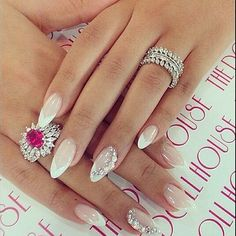 V shape French oval nails with bling pretty ring too