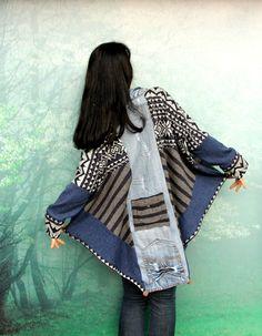 M-XL Crazy denim et chandails patchwork poncho par jamfashion                                                                                                                                                                                 Plus