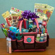 Crafty Mom Basket -  A roomy tote with pockets inside and out is a dream container for the crafty mom. If she is a scrapbooker, load it up with decorative-edge scissors, bottles of rhinestones, and jars of flower embellishments. For a beading mom, tuck in a project board and tubes of glass beads, crystals, and gemstones. Knitting mom will love skeins of funky yarns, specialized needles, and the latest book of knitting projects.