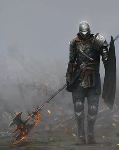 "Bandit by martianzombie | Digital Art / Drawings & Paintings / Fantasy | Character warrior knight | Author's note: ""In these Dark Souls II days I thought it'd be appropriate to pay tribute to my main man, the one and only, the sassiest bandit ever from Dark Souls! We laughed, we loved, we died... a lot."""
