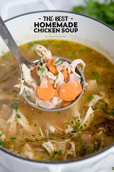 Homemade #Chicken #Soup Recipe is easy, delicious, and will cure whatever ails you! It's warm and comforting, and perfect for those cold winter nights.
