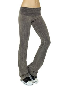 T-Party Mineral Wash Fold Over Yoga Pants,Small,Grey