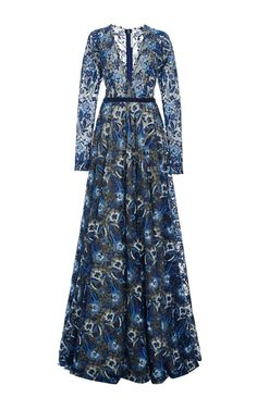 Floral Embroidered Deep V Neck Gown by NAEEM KHAN for Preorder on Moda Operandi