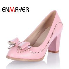 (32.94$)  Watch now  - ENMAYER Grade PU Square Heels Round Toe Shoes for Ladies Nice Green Pink Beige Spring/Autumn Pumps Lovely Bowtie Date Pumps