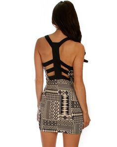 Tribal Sweetheart Dress with Slit Cutout Back | Home Goods Galore