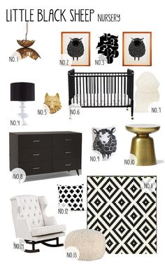 little black sheep nursery board. adore these pieces. blog shows links where to find each piece.