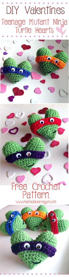 Teenage Mutant Ninja Turtle Hearts - Free Crochet Pattern - Perfect for little TMNT lovers - Valentines gift
