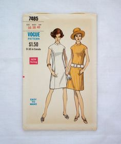 Vintage vogue 7485 sewing pattern size 16 shift dress with mandarin collar uncut 1960s dress pattern by ResourcefulGoods on Etsy