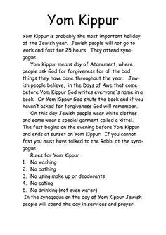 Simple worksheet looking at the Yom Kippur festival Biblical Hebrew, Hebrew Words, Comida Judaica, Jewish Beliefs, Cultura Judaica, Jewish Year, Jewish Calendar, Jewish Festivals, Messianic Judaism