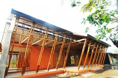 Bamboo School - Nato High School by Eleena Jamil Architect in Camarines-Sur, Philippines Filipino Architecture, Philippine Architecture, Bamboo Architecture, Bamboo Building, Green Building, Home Building Kits, Building A House, Filipino House, Bamboo House Design
