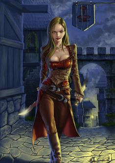 Female Human Dual-Wielder Daggers Leather Armor Rogue Assassin Swashbuckler Thief - Pathfinder PFRPG DND D&D fantasy Fantasy Warrior, Fantasy Girl, Chica Fantasy, Fantasy Art Women, Fantasy Rpg, Medieval Fantasy, Fantasy Portraits, Character Portraits, Fantasy Artwork