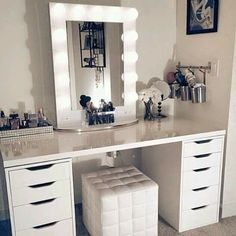The Lights Bring Out The Whole Mirror And I Love The Desk With The White Chair. Pined By: CuteNatSugar <3