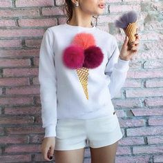 Hanah Ice-Cream Icon Sweater Top - The Wild Flower Shop    Cute with flurry Ice-cream icon print, bringing life to this everyday sweater top! • Round neckline • Weight: 260 grams Material: Cotton blend   $30