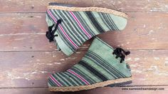 Amber Womens Ankle Boots In Seafoam Green Handwoven Hmong Hemp. #boho #boots #vegan #Hmong #fashion