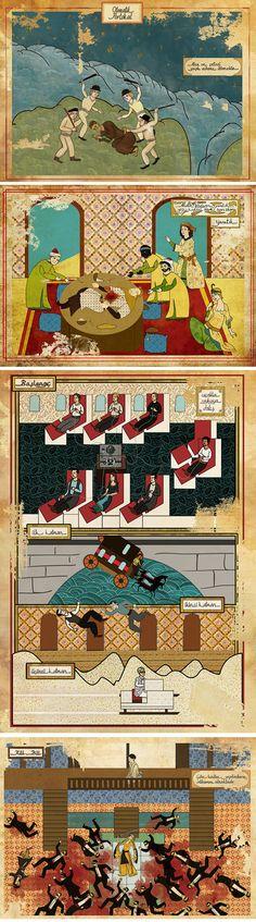 Turkish illustrator Murat Palta turns famous movies into Ottoman miniature paintings. ( A Clockwork Orange, Alien, Inception and Kill Bill)