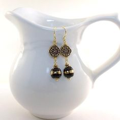 Black and Gold Earrings Kazuri Antique Gold by CinLynnBoutique, $18.00