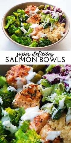 Mediterranean Salmon Bowl - a healthy salmon recipe that is easy, full of flavor.Mediterranean Salmon Bowl - a healthy salmon recipe that is easy, full of flavor, super satisfying and ready in less than 30 minutes! This healthy dinner recipe c Healthy Dinner Recipes For Weight Loss, Clean Eating Recipes For Dinner, Good Healthy Recipes, Easy Healthy Dinners, Paleo Recipes, Healthy Low Carb Meals, Healthy Dinner For One, Clean Eating Salads, Healthy Dinner Options