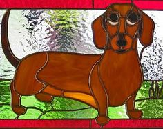 Stained glass dachschund