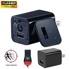 Covert USB Wall Charger Hidden Camera Motion Detection Nanny Camcorder Batteryless HD 1080P Video Recorder US/EU Plug